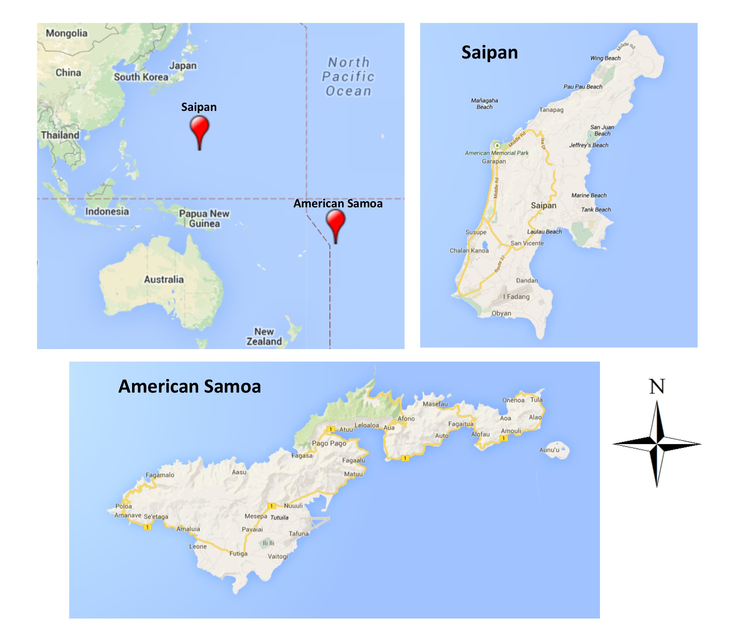 IBP Landbirds Of Saipan And American Samoa - Map of pacific northwest usa